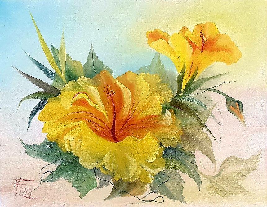 """Workshop """"Hibiscus"""" (tela 50x40cm)"""